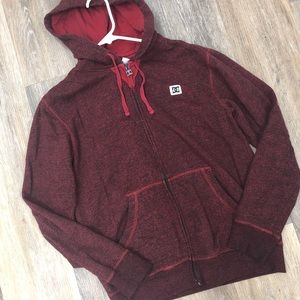 DC Red Zip Up Hoodie sz Small